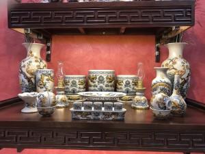 Bộ đồ thờ Bát Tràng men rạn đắp nổi 3 bát hương S2