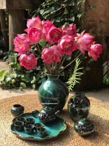 Set ấm trà+ lọ hoa hỏa biến xanh lục